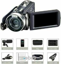 1080P 4K HD Camcorder Digital Video Camera LCD 24MP 16X Zoom DV AV Night Vision