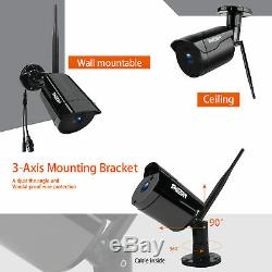4CH 1080P Outdoor Wireless Security Camera System 2MP Wifi NVR