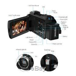 4K 1080P 48MP WiFi Digital Video Camera Camcorder Recorder +0.39X Lens Mic Y8P3