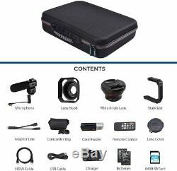 4K Camcorder Bundle HD Digital Video Camera Microphone 1080P Hi Quality Music
