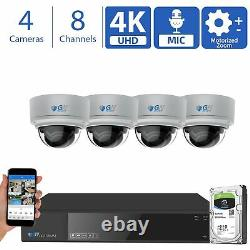 8 Channel (4) 4K 8MP 4X Motorized Zoom Mic IP POE AI Dome Security Camera System