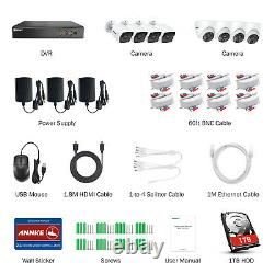 ANNKE 8CH 5MP H. 265+ DVR IR Cut Home Outdoor CCTV PIR Camera Security System 1TB