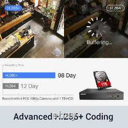 ANNKE 8+2CH 5IN1 H. 265+ DVR 1080P HD Camera Home Surveillance System IP66 1TB