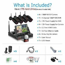 ANRAN 1080P WiFi Camera Security System Outdoor CCTV 7Monitor 1TB Home Wireless