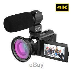Andoer 4K 1080P 48MP WiFi Digital Video Camera Recorder Camcorder DV + Lens Mic
