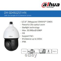 Dahua 2MP Starlight 25X PTZ IP Dome Camera IR H. 265 POE P2P IP66 DH-SD49225T-HN