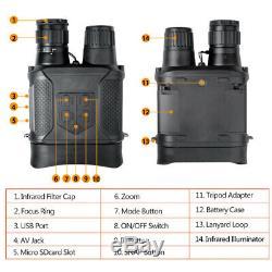 Digital Night Vision Hunting Binoculars Infrared Camera & Camcorder 400m/1300ft