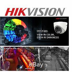 Hikvision CCTV 4K DVR 5MP ColorVu Dome Camera DS-2CE72HFT-F IP67 20M System UK