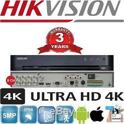 Hikvision Cctv System 4k 8mp Dvr Night Vision Outdoor Dome Camera Full Kit Uhd