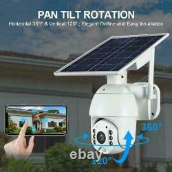 Home Security Camera Outdoor Solar Battery Powered Wireless Pan Tilt Spotlight