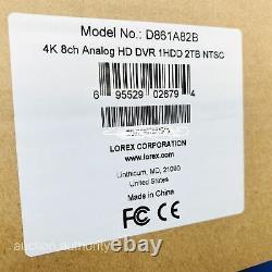 Lorex 4K HD 8Ch DVR Security Video Camera Network Recorder 2TB HDD Smart D861A82