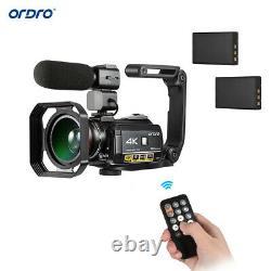 ORDRO AC3 4K WiFi Digital Video Camera Camcorder DV 30X+Lens +Microphone+Holder
