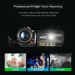 ORDRO AC3 4K WiFi Digital Video Camera Camcorder DV Recorder 24MP 30X+ Mic+ Lens
