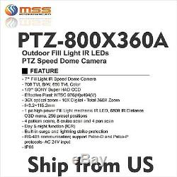 PTZ Speed 7 Dome 700TVL Camera 360X Zoom Outdoor Fill Light IR 650ft AC24V 360A