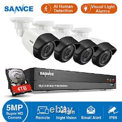 SANNCE 5MP 8CH DVR Video Security AI Light Alert Home Outdoor Camera System 4TB