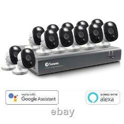 Swann DVR 4580 16-Ch FHD 1TB DVR Security System with 12 Warning Light Cameras