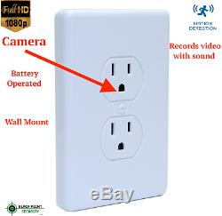 Wall Mount AC Outlet Full HD 1080P Hidden Spy Security Battery Camera DVR Audio