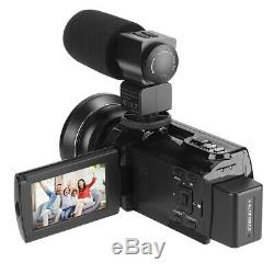WiFi 4K HD Digital Camcorder Video Camera DV Night vision+Mic+Lens 48MP 16X Zoom