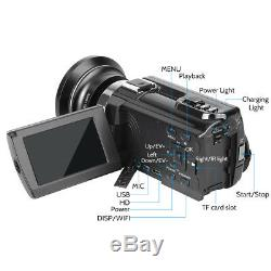 WiFi 4K HD Digital Camcorder Video Camera Wide Angle Nightvision 48MP 16X Zoom