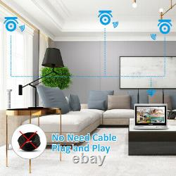 Wireless 4CH NVR 12'' Monitor 1080P IP Camera System Wifi 2MP Security Home CCTV