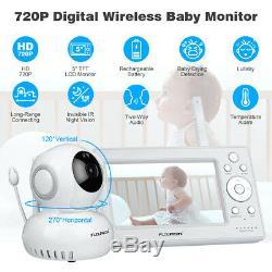 5baby Moniteur Vidéo Audio Sans Fil 2,4 Ghz Caméra De Vision Nocturne Température D'alerte