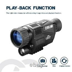 5x40 Digital Night Vision Monoculaire Caméra Vidéo Hd Infrarouge Ir 1,5 Pouce Écran