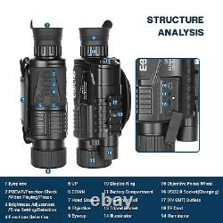 5x40 Night Vision Monoculaire Hd Infrarouge Ir Video Camera Jour Night Nuit 100% Darkness