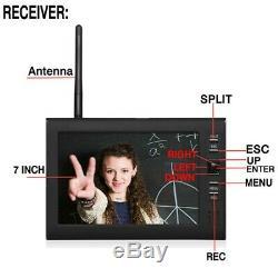 7 Tft LCD 2.4g 4ch Système De Sécurité Dvr Sans Fil Moniteur Night Vision 4 Caméras