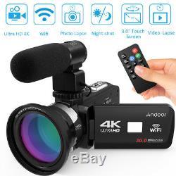 Andoer 3.0 30mp 4k Ultra Hd Wifi Caméra Vidéo Numérique Vision Nocturne Dvr + Micro + Lentille
