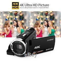 Andoer 4k 1080p 48mp Wifi Caméscope Enregistreur Numérique Dvr + Micro + Objectif