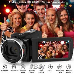 Andoer 4k Ultra Hd Wifi Caméscope Numérique Caméscope Enregistreur DV + Microphone