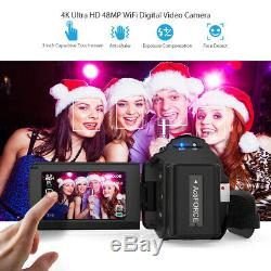 Andoer 4k Wifi Hd 1080p 48mp 16x Caméra Vidéo Numérique Caméscope DV Enregistreur