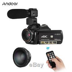 Andoer Wifi 4k 30x Zoom + Microphone Caméscope Numérique Dvr