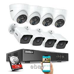 Annke 8ch 5mp H. 265+ Dvr Ir Cut Home Extérieur Cctv Pir Camera Security System 1 To