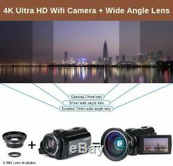 Caméra Vidéo 4k Ultra Hd Caméscope 48mp Wifi Night Vision Numérique Vlogging Camer