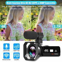 Caméra Vidéo De Caméscope Numérique 4k Ir Night Vision Vlogging Recorder Pour Youtube