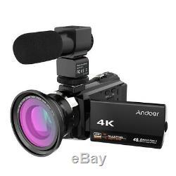 Caméscope Numérique 4k 1080p 48mp Wifi Caméra 0.39x Angle Macro Microphone Objectif