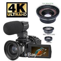Caméscope Numérique Hd 4k Zoom 16x Wifi 48 Mp Caméra Vidéo Vision Nocturne Grand Angle