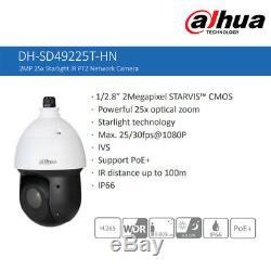 Dahua 2mp Starlight 25x Ptz Ip Caméra Dôme Ir H. 265 Poe P2p Ip66 Dh-sd49225t-hn