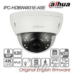 Dahua 4k 8mp Ip Caméra Dôme H. 265 Ip67 Poe Ir Audio Tf Ipc-hdbw4831e-ase 2.8mm