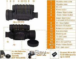 Hd 6x50mm 1150 Ft Numérique De Vision Nocturne Infrarouge Monoculaire Noir Caméra (gt-50)