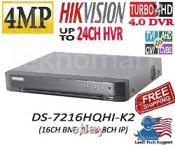 Hikvision 4mp Ds-7216hqhi-k2 16ch Hd-tvi Dvr + 8ch Ip Input In Total 24ch H. 265+