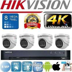 Hikvision Cctv Système 4k 8mp Dvr Vision Nocturne Caméra Dôme Extérieure Kit Complet Uhd