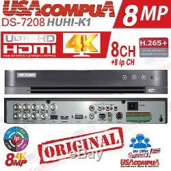 Hikvision Ds-7208huhi-k1 8ch 4k H. 265 + 264 Ahd / Tvi 8mp-1080p (pas D'hdd) 2019
