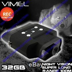 Jumelles De Vision Nocturne Monoculaire 32go Camera Recorder Jeu Goggles Numérique Nv