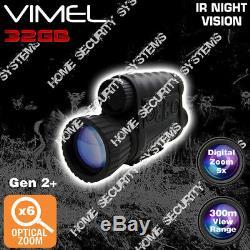 Monoculaire De Vision Nocturne Nv Enregistreur Numérique De Sécurité Lunettes Ir Gen 2+