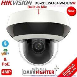 New Hikvision Ds-2de2a404iw-de3 / W 4mp 4xzoom Ptz Ip Caméra Ir Poe Wifi MIC Audio