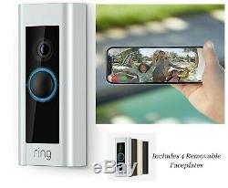 New Video Ring Sonnette Pro Wifi 1080p Caméra Hd Night Vision 4 Plastrons