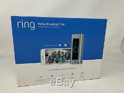 New Video Ring Sonnette Pro Wifi 1080p Caméra Hd Night Vision Satin Nickel