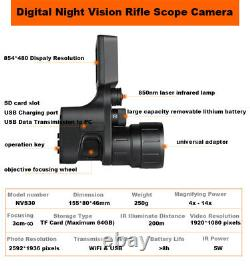 Nvs30 4-14x Digital Night Vision Rifle Scope Camera Wifi Connecting 5w Ir Power